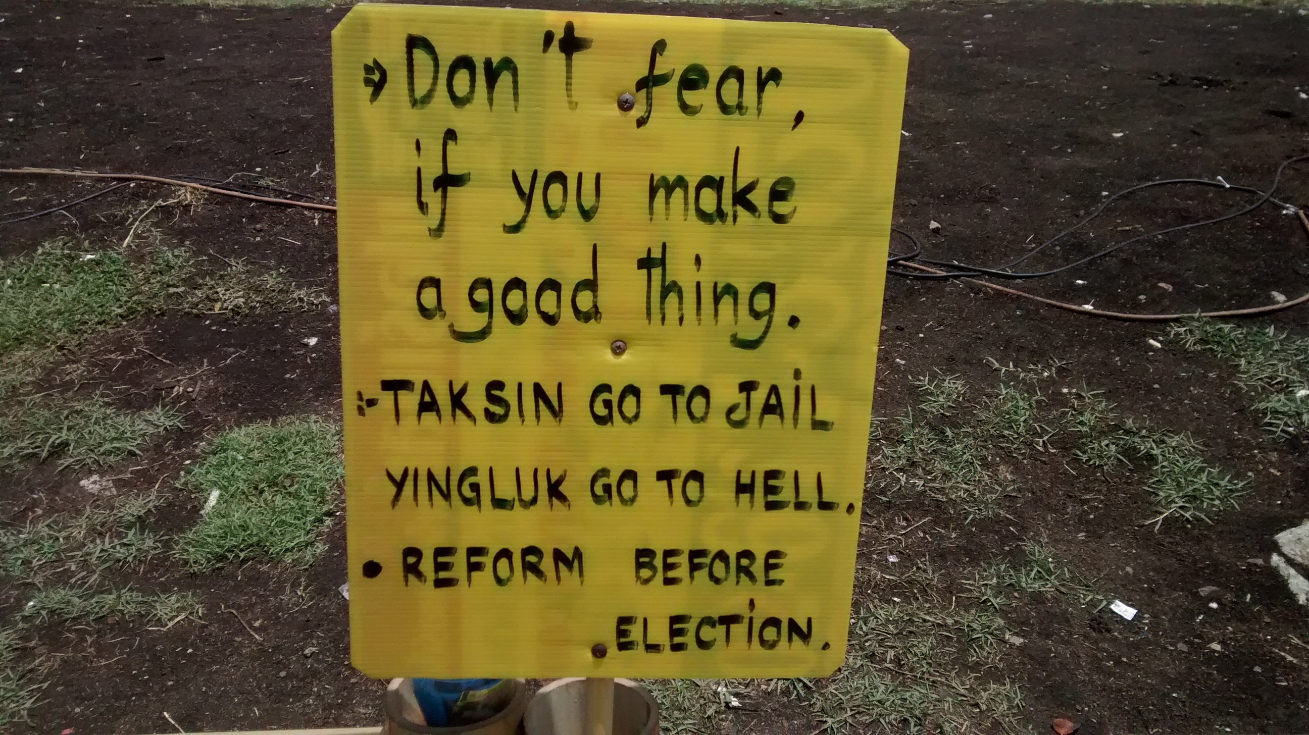 Lumphini Park Protest Sign